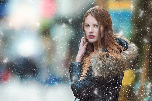 žena, sníh, kožešina